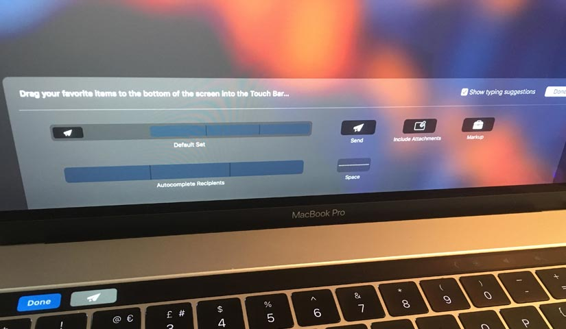 removing the send email button off the macbook 2016 touch bar on apple mail